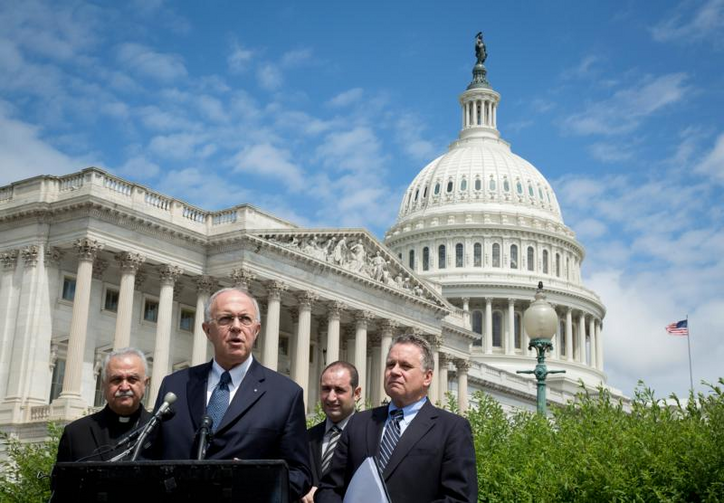 Supreme Knight Carl Anderson, CEO of the Knights of Columbus, speaks near the U.S. Capitol in Washington on June 7. (CNS photo/Tyler Orsburn)