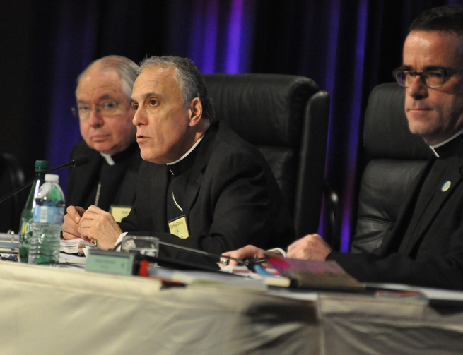 Cardinal Daniel N. DiNardo of Galveston-Houston, who is president of the U.S. Conference of Catholic Bishops, center, speaks on June 14 during the opening of the bishops' annual spring assembly in Indianapolis. (CNS photo/Sean Gallagher, The Criterion)
