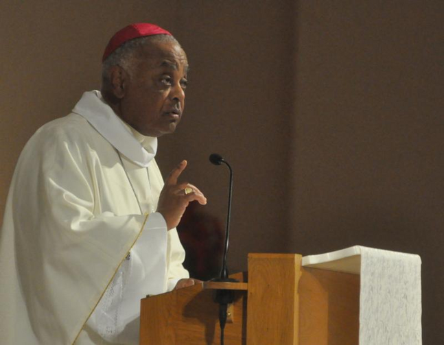 Atlanta Archbishop Wilton D. Gregory delivers the homily during Mass on June 14 at SS. Peter and Paul Cathedral in Indianapolis during the U.S. Conference of Catholic Bishops' annual spring assembly. (CNS photo/Sean Gallagher, The Criterion)