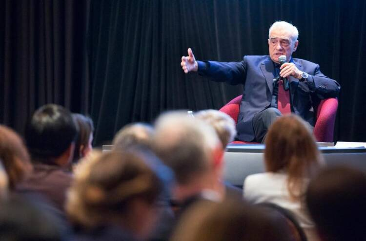 "Film director Martin Scorsese speaks to an audience at the Catholic Media Conference in Quebec City on June 21 following a screening of his new movie ""Silence."" (CNS photo/Chaz Muth)"