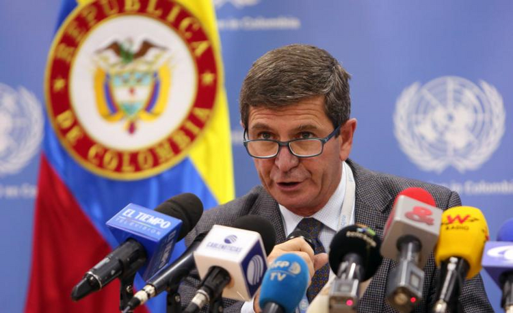 Argentinian Maj. Gen. Javier Antonio Perez Aquino, chief observer of U.N. Mission in Colombia, holds a March 2 news conference in Bogota. (CNS photo/Mauricio Duenas Castaneda, EPA)