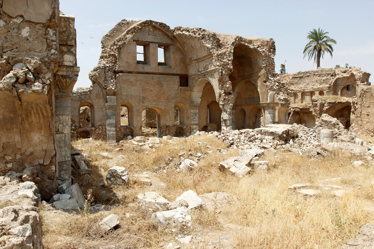 The ruins of the Chaldean Catholic cathedral are seen Aug. 3 in Kirkuk, Iraq. (CNS photo/Ako Rasheed, Reuters)