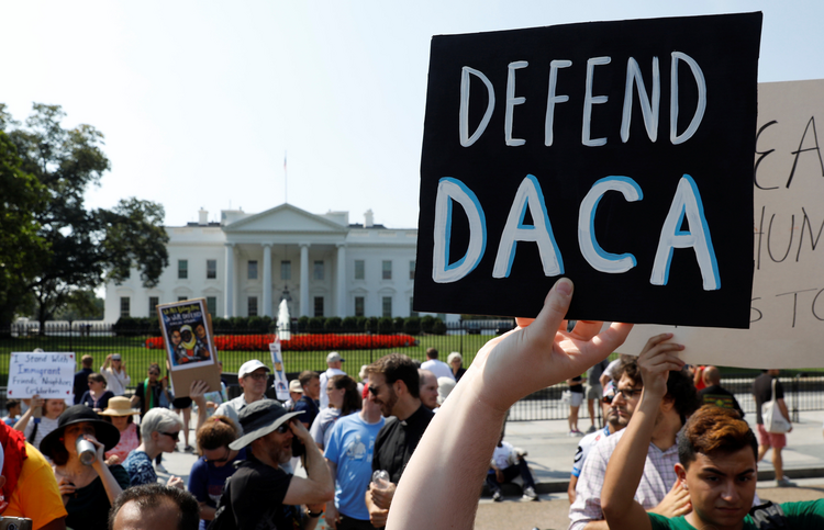 DACA supporters demonstrate near the White House in Washington on Sept. 5. (CNS photo/Kevin Lamarque, Reuters)