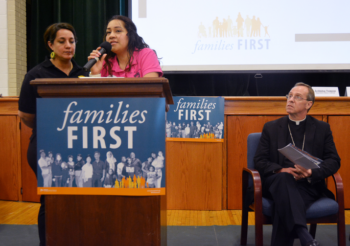 Maira Bordonabe, a member of St. Michael the Archangel Parish in Indianapolis and a married mother of two, shares her story of being taken for deportation at an Aug. 30 rally. (CNS photo/Natalie Hoefer, The Criterion)