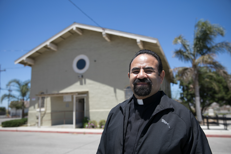 Father Enrique Herrera, pastor of Holy Trinity Church in Greenfield, Calif., is the winner of the 40th annual Lumen Christi Award of the Catholic Extension Society. He is pictured in a late June photo. (CNS photo/courtesy Catholic Extension Society)