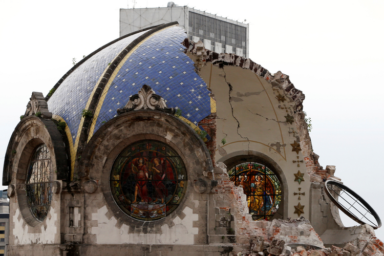 The destroyed dome of Our Lady of Angels Church is seen Sept. 24. following the Sept. 19 earthquake in Mexico City. (CNS photo/Carlos Jasso, Reuters)