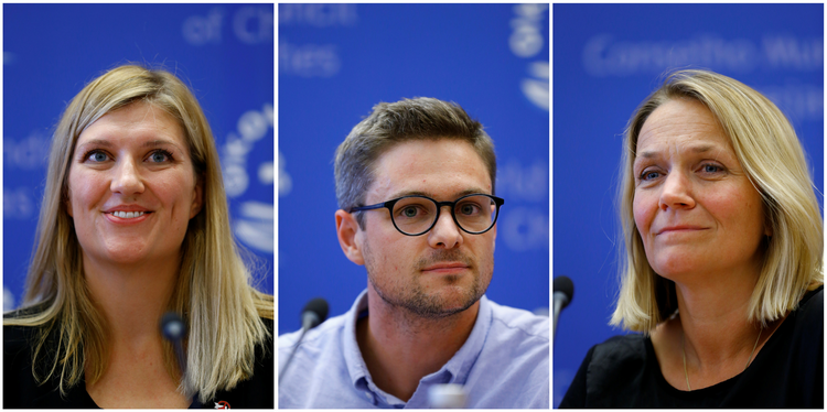 A combination photo shows members of the International Campaign to Abolish Nuclear Weapons in Geneva on Oct. 6. The group won the 2017 Nobel Peace Prize. Pictured from left to right are Beatrice Fihn, executive director; Daniel Hogsta, coordinator; and Grethe Ostern, a member of the organization's steering committee. (CNS photo/Denis Balibouse, Reuters)