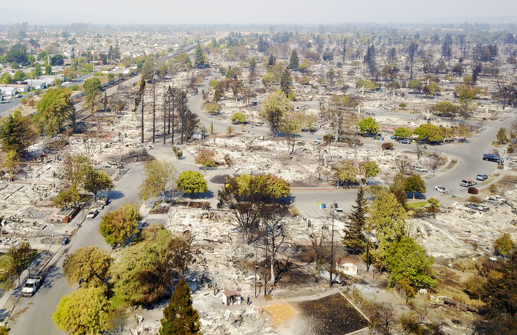 An aerial view of destruction in Santa Rosa, Calif., is seen on Oct. 11 after wildfires. (CNS photo/DroneBase, Reuters)