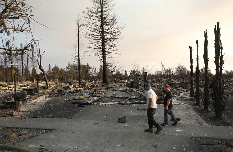"A neighborhood destroyed by wildfire in Santa Rosa, Calif. The Diocese of Santa Rosa ""has been hit hard"" and ""is in an ongoing state of uncertainty"" because of Northern California wildfires that began the night of Oct. 8, said Bishop Robert F. Vasa. (CNS photo/Jim Urquhart, Reuters)"