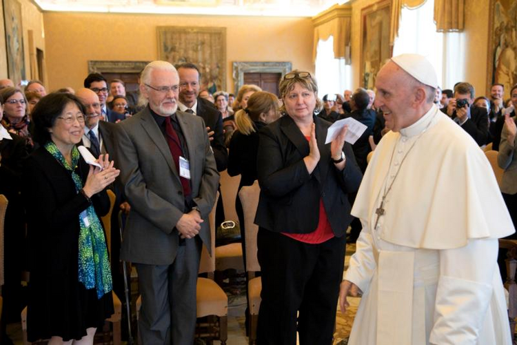 Pope Francis leads an audience with members of the International Federation of Catholic Universities at the Vatican Nov. 4. The pope encouraged Catholic universities to study the root causes of migration. (CNS photo/L'Ossservatore Romano)