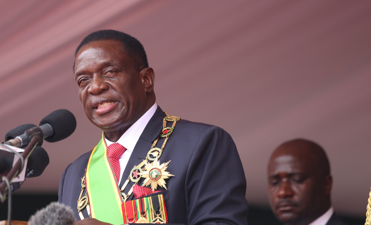 Zimbabwe President Emmerson Mnangagwa delivers a speech during his Nov. 24 swearing-in ceremony in Harare. (CNS photo/Aaron Ufumeli, EPA)