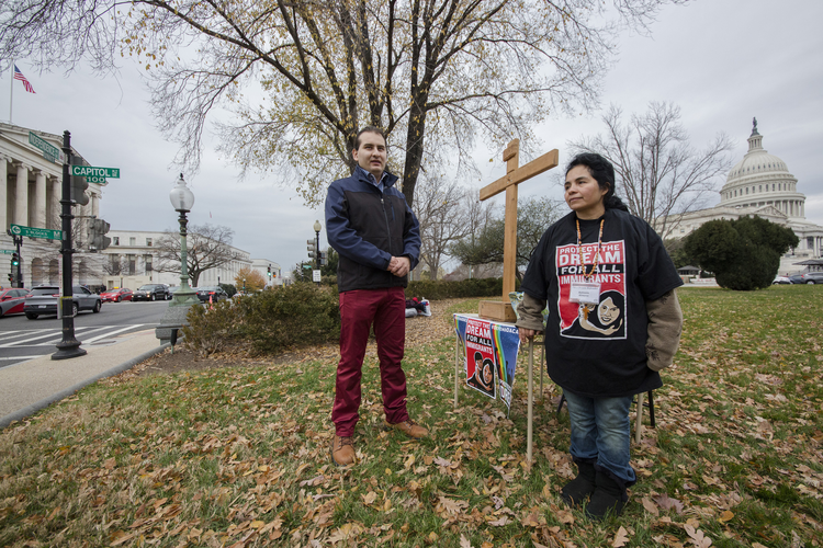 Daniel Galan and Antonia Alvarez advocate for the passage of the DREAM Act near the U.S. Capitol building in Washington Dec. 5. They were fasting and praying for 10 days to draw attention to the immigration issue. (CNS photo/Jaclyn Lippelmann, Catholic Standard)