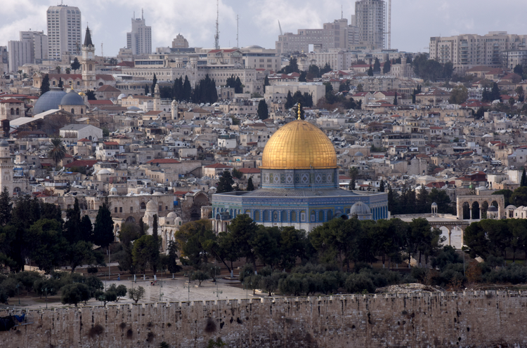 The gold-covered Dome of the Rock at the Temple Mount complex is seen in this 2017 overview of Jerusalem's Old City. (CNS photo/Debbie Hill)