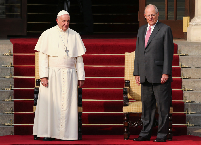 Pope Francis and Peruvian President Pedro Pablo Kuczynski stand outside the presidential palace in Lima, Peru, Jan.19.(CNS photo//Mariana Bazo, Reuters)