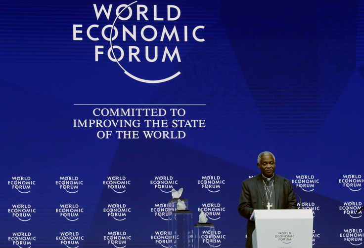 Ghanaian Cardinal Peter Turkson, prefect of the Dicastery for Promoting Integral Human Development, speaks on Jan. 22 during the opening session of the World Economic Forum in Davos, Switzerland. (CNS photo/Denis Balibouse, Reuters)