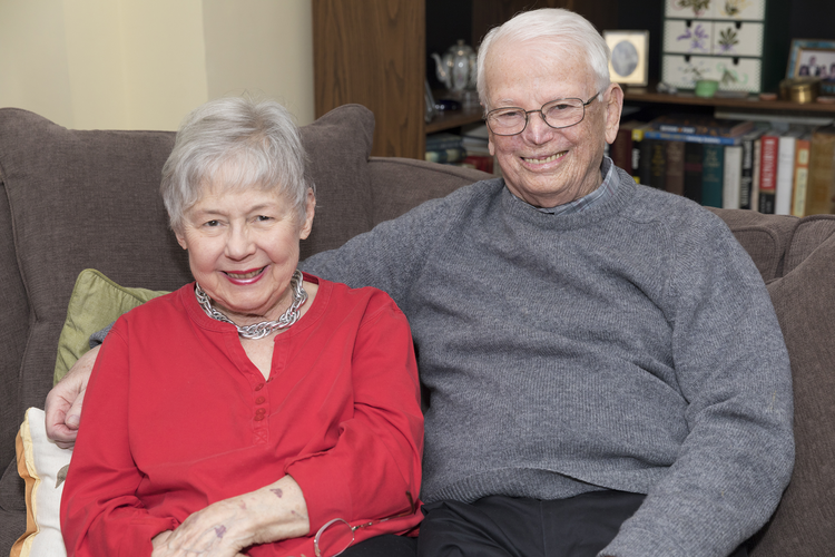 Bess June and John Lane, who will celebrate their 60th wedding anniversary at the end of National Marriage Week, which is Feb 7-14, pose for a Feb. 6 photo at their home in Rye, N.Y. Laughter, tolerance and shared faith are important ingredients in a loving, lasting marriage, according to the New York couple. (CNS photo/JoAnn Cancro Photography)
