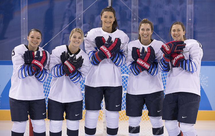 Cayla Barnes, Emily Pfalzer, Megan Keller, Kali Flanagan and Haley Skarupa, members of the U.S. woman's hockey team, pose for a Feb. 6 photo in Pyeongchang, South Korea. All are either graduates of or students at Boston College. (CNS photo/Jeff Cable, USA Hockey)