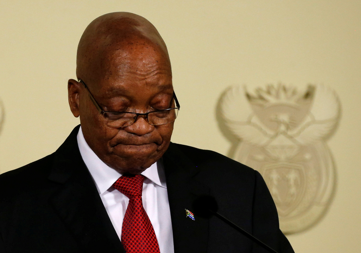 South African President Jacob Zuma speaks on Feb. 14 at the Union Buildings in Pretoria. Zuma, 75, resigned that day after nine years in office. (CNS photo/Siphiwe Sibeko, Reuters)