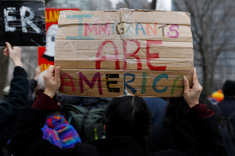 Activists and DACA recipients are seen in New York City Feb. 15. (CNS photo/Shannon Stapleton, Reuters)