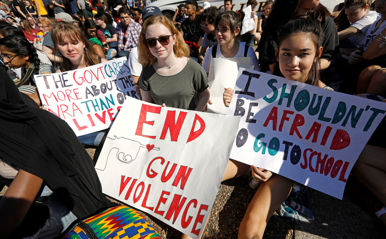 Students who walked out of classes from Montgomery County Public Schools in Maryland protest against gun violence in front of the White House on Feb. 21 in Washington. (CNS photo/Kevin Lamarque, Reuters)