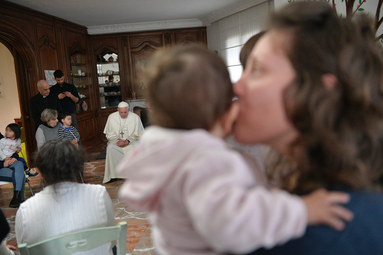 "Pope Francis visited the ""Casa di Leda,"" a group home for women prisoners and their young children, in Rome on March 2. (CNS photo/Vatican Media)"