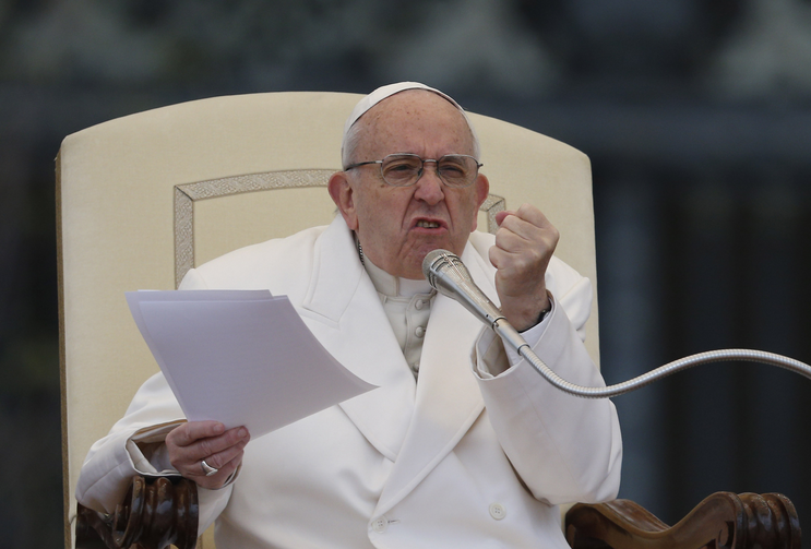 Pope Francis gestures during his general audience in St. Peter's Square at the Vatican April 4. (CNS photo/Paul Haring)