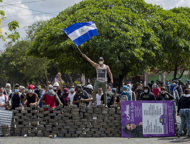 A cobblestone barricade in Managua on April 21. (CNS photo/Jorge Torres, EPA)