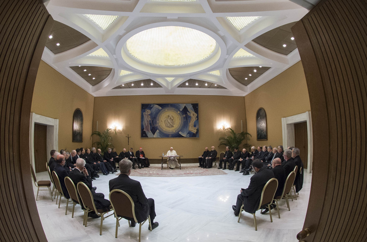 Pope Francis and 34 Chilean bishops met in May to discuss the clerical sexual abuse crisis in Chile. (CNS photo/Vatican Media)