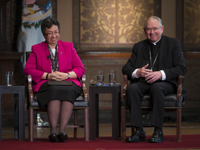 "Sister Teresa Maya, a member of the Sisters of Charity of the Incarnate Word and president of the Leadership Conference of Women Religious, and Los Angeles Archbishop Jose H. Gomez, vice president of the U.S. Conference of Catholic Bishops, speak at the ""Overcoming Polarization"" conference at Georgetown University in Washington. (CNS photo/Tyler Orsburn)"