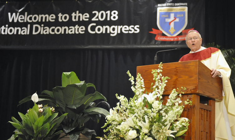 New Orleans Archbishop Gregory M. Aymond delivers the homily July 22 at the opening Mass of the 2018 National Diaconate Congress in New Orleans. (CNS photo/Peter Finney Jr., Clarion Herald)
