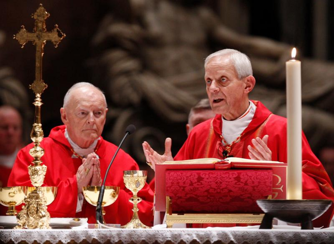 In this 2010 file photo, Cardinal Theodore E. McCarrick, retired archbishop of Washington, and Cardinal Donald W. Wuerl of Washington, concelebrate a Mass of thanksgiving in St. Peter's Basilica at the Vatican. (CNS photo/Paul Haring)