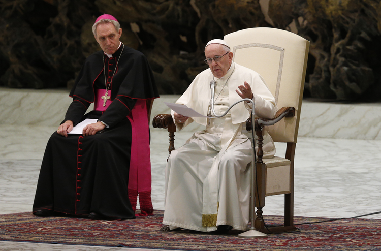 Pope Francis speaks during his general audience in Paul VI hall at the Vatican Aug. 1. (CNS photo/Paul Haring)