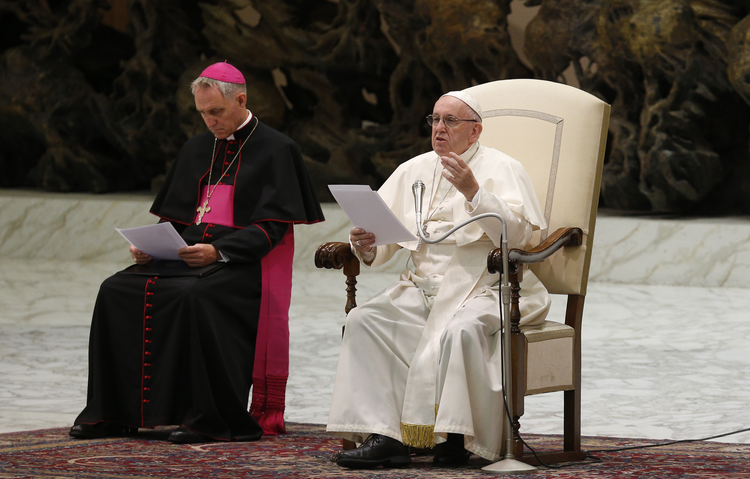 Pope Francis speaks during his general audience in Paul VI hall at the Vatican Aug. 8. Also pictured is Archbishop Georg Ganswein, prefect of the papal household. (CNS photo/Paul Haring)