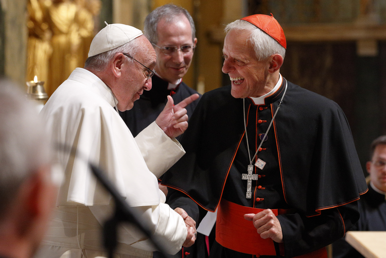 Pope Francis talks with Cardinal Donald W. Wuerl of Washington during a meeting with U.S. bishops in the Cathedral of St. Matthew the Apostle in Washington Sept. 23, 2015. (CNS photo/Paul Haring)