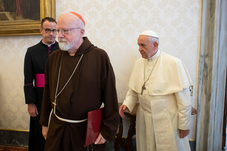 Pope Francis meets with officials representing the U.S. Conference of Catholic Bishops at the Vatican Sept. 13. At left is Msgr. J. Brian Bransfield, general secretary of the conference, and Cardinal Sean P. O'Malley of Boston, president of the Pontifical Commission for the Protection of Minors. (CNS photo/Vatican Media)