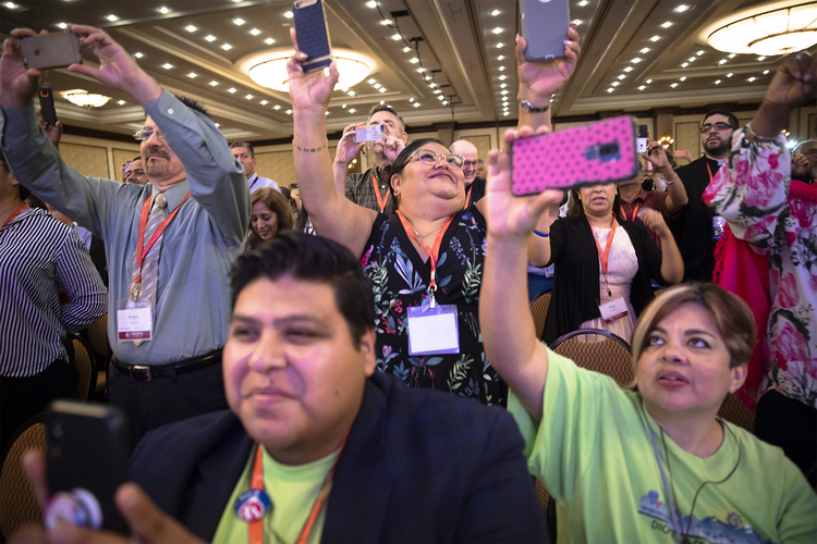 Delegates celebrate the Sept. 23, 2018, closing session of the Fifth National Encuentro, or V Encuentro, in Grapevine, Texas. (CNS photo/Tyler Orsburn)