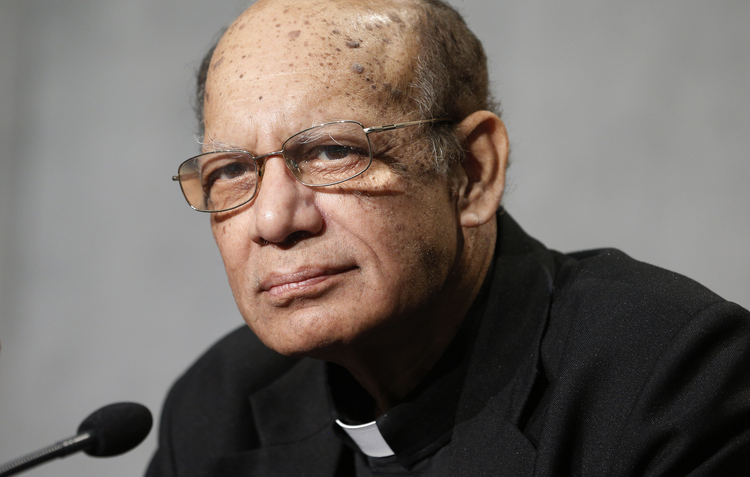 Cardinal Oswald Gracias of Mumbai, president of the India bishops' conference, attends a news conference to discuss the Synod of Bishops on young people, the faith and vocational discernment at the Vatican Oct. 9. (CNS photo/Paul Haring)