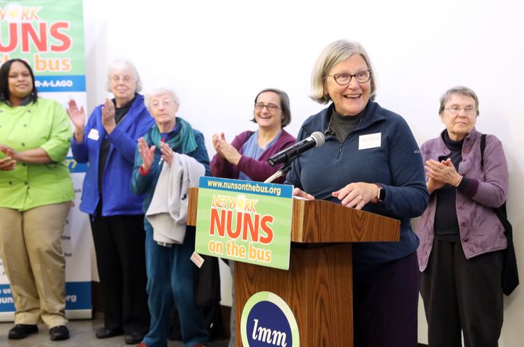 Sister Simone Campbell, executive director of Network, speaks at a pre-election rally at Lutheran Metropolitan Ministries headquarters on Oct. 20 in Cleveland. (CNS photo/Dennis Sadowski)