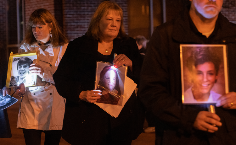 Supporters of the Survivors Network of those Abused by Priests (SNAP) outside the assembly of the United States Conference of Catholic Bishops in Baltimore on Nov. 12, 2018. (CNS photo/Kevin J. Parks, Catholic Review)