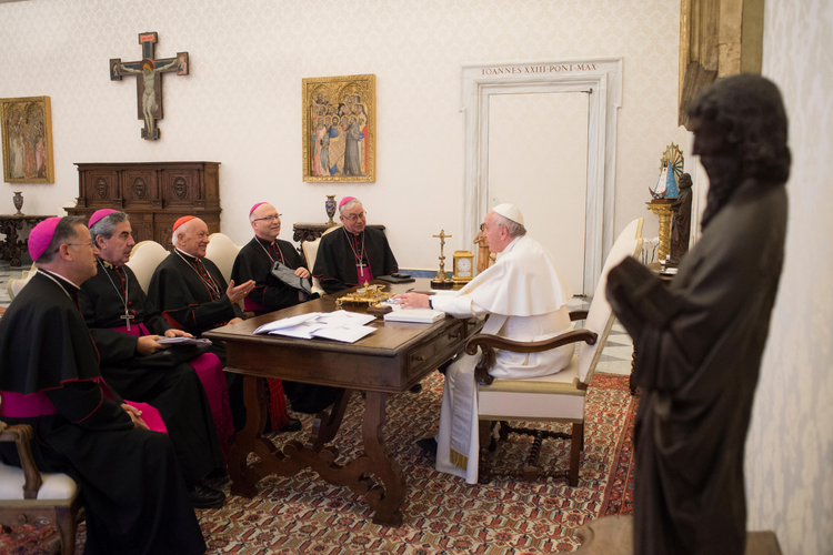 Pope Francis meets with the leadership of the Chilean bishops' conference at the Vatican on Jan. 14 to talk about the sex abuse crisis affecting the church in Chile. (CNS photo/Vatican Media)