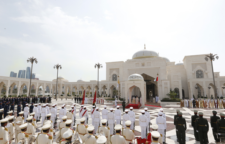 Image: Pope Francis attends a welcoming ceremony with Sheik Mohammed bin Rashid Al Maktoum, vice president and prime minister of the United Arab Emirates and ruler of Dubai, and Sheik Mohammed bin Zayed Al Nahyan, crown prince of United Arab Emirates, at the entrance to the presidential palace in Abu Dhabi, United Arab Emirates, Feb. 4, 2019. (CNS photo/Paul Haring)
