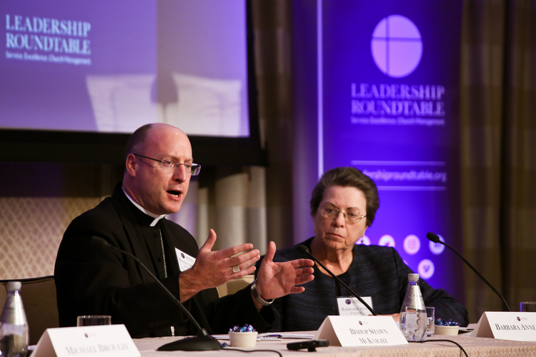 Bishop W. Shawn McKnight of Jefferson City, Mo., speaks at the Leadership Roundtable's Catholic Partnership Summit in Washington, D.C., on Feb. 1. (CNS photo/Ralph Alswang, courtesy Leadership Roundtable)