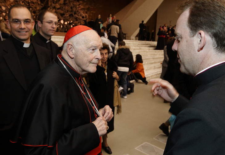 Then-Cardinal Theodore E. McCarrick attends a reception for new cardinals in Paul VI hall at the Vatican Nov. 20, 2010. Among the new cardinals was Cardinal Donald W. Wuerl of Washington, successor to Cardinal McCarrick as archbishop of Washington. (CNS photo/Paul Haring)
