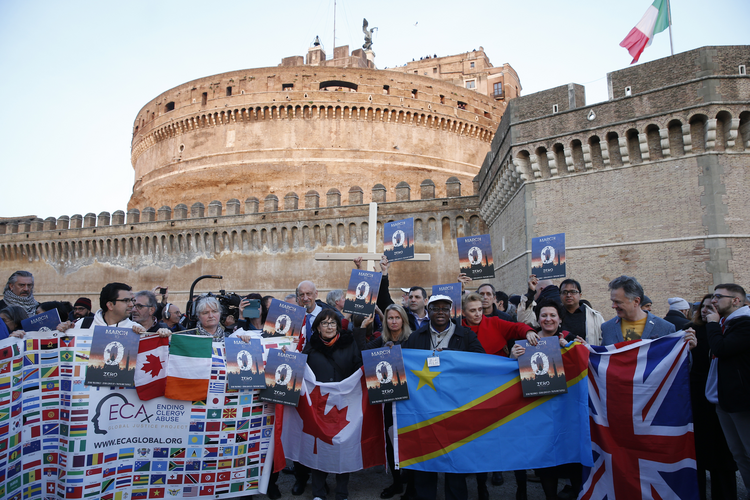 Clerical sex abuse survivors and their supporters rally outside Castel Sant'Angelo in Rome Feb. 21, 2019. (CNS photo/Paul Haring)