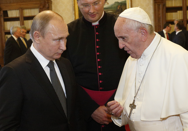 Pope Francis talks with Russian President Vladimir Putin during a private audience at the Vatican July 4, 2019. (CNS photo/Paul Haring)