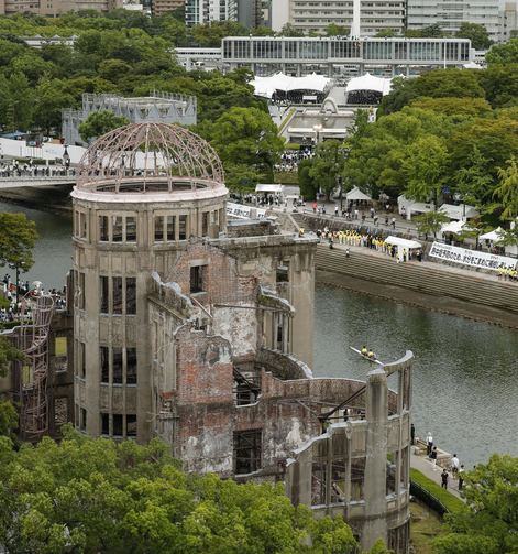 The Atomic Bomb Dome is seen in Hiroshima, Japan, Aug. 6, 2019.