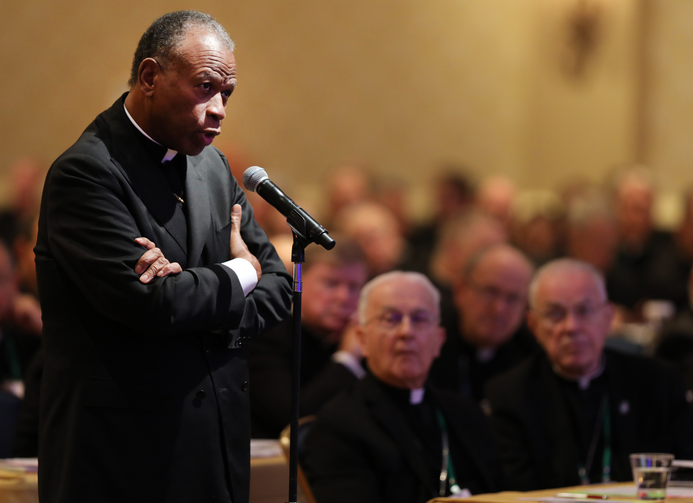 Bishop Edward K. Braxton of Belleville, Ill., speaks from the floor during last year's the fall general assembly of the U.S. Conference of Catholic Bishops in Baltimore. (CNS photo/Bob Roller)