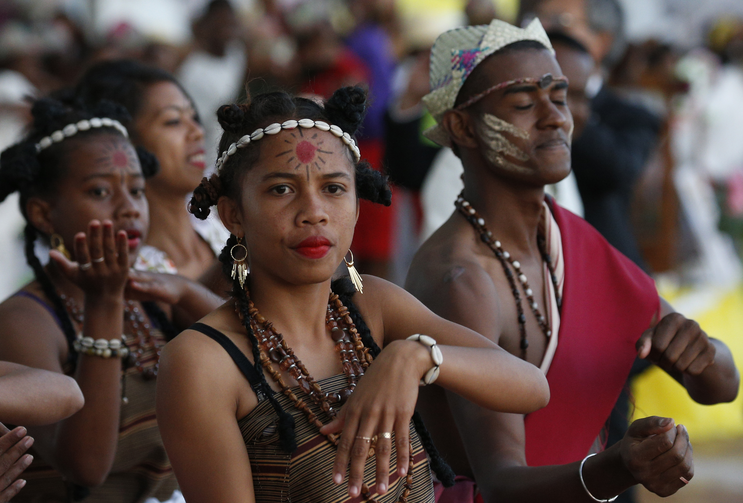 Dancers perform before Pope Francis leads a vigil with young people at the Soamandrakizay diocesan field in Antananarivo, Madagascar, Sept. 7, 2019. (CNS photo/Paul Haring)