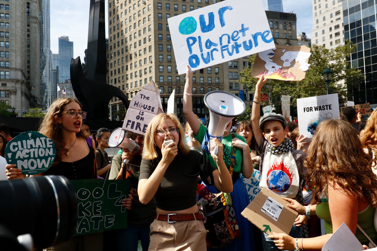 Young people gather for the climate change rally in New York City on Sept. 20. (CNS photo/Gregory A. Shemitz)