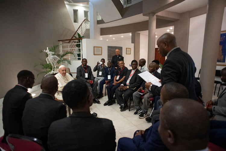 Pope Francis meets with Jesuits in Maputo, Mozambique, Sept. 5, 2019. (CNS photo/Vatican Media)
